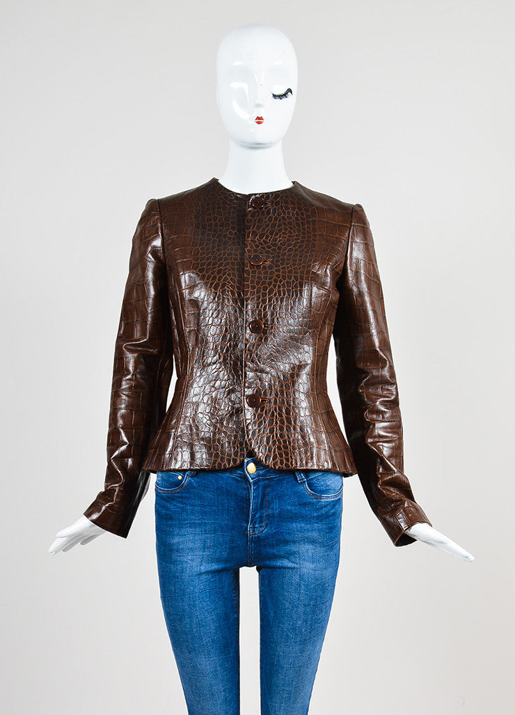 Ralph Lauren Black Label Chestnut Brown Crocodile Embossed Leather Jacket Frontview 2