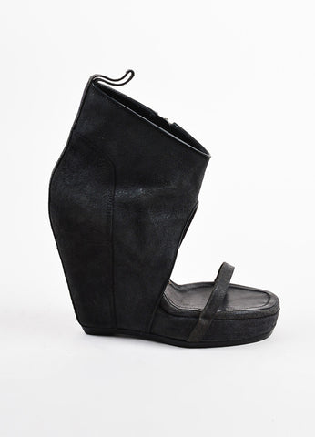 Rick Owens Grey Suede Leather Platform Wedge Heel Ankle Bootie Sandals Sideview