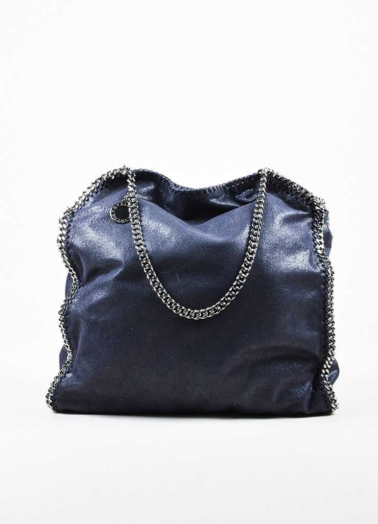 Stella McCartney Navy Blue Faux Deer Silver Toned Metal Chain Handle Shoulder Bag Frontview