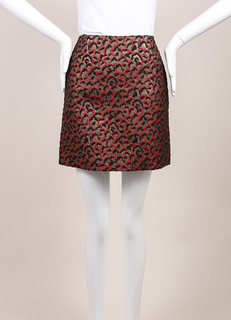 Saint Laurent New With Tags Red, Black, and Gold Metallic Leopard Print Mini Skirt Frontview