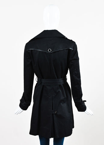 Tod's Black Cotton and Leather Trim Single Breasted and Belted Trench Coat Backview