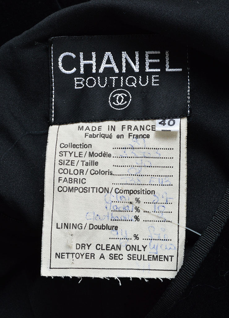 Chanel Black Velvet Ribbon Tie Long Sleeve Sheath Dress Brand