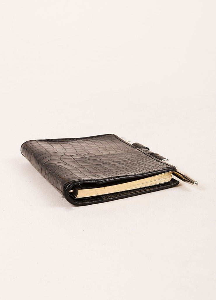 Hermes Black Crocodile Leather Mini Agenda Cover Sideview