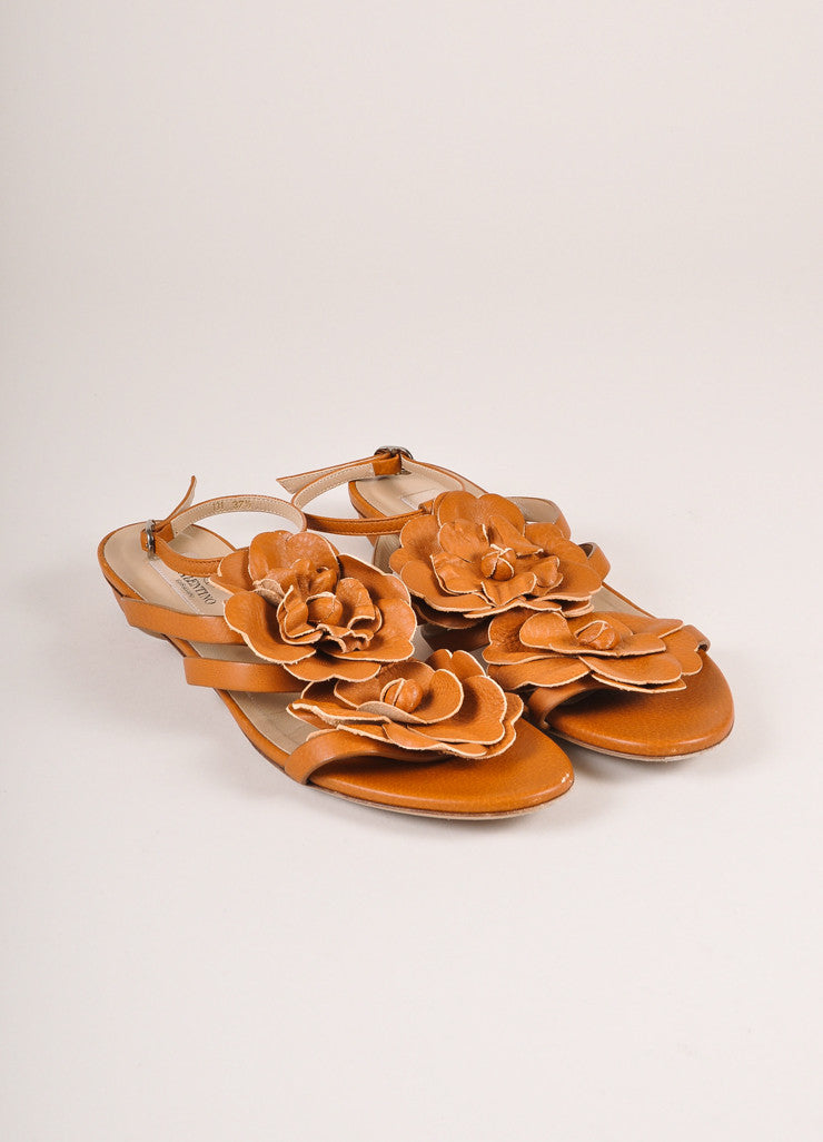 Valentino Brown Floral Applique Strappy Flat Leather Sandals Frontview