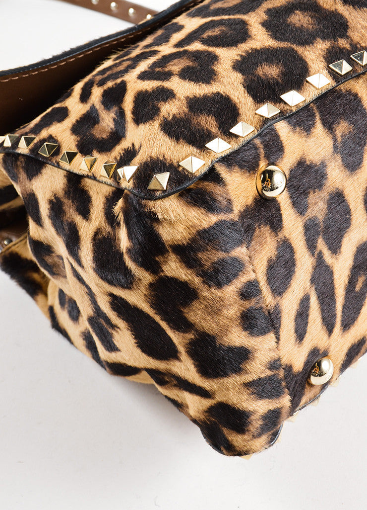 "Valentino Brown Pony Hair Leather Leopard Print ""Rockstud"" Frame Bag Detail"