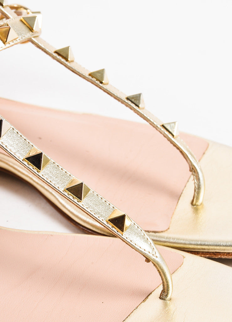 "Valentino Garavani Silver Gold Metallic Leather ""Rockstud"" Sandals Detail"