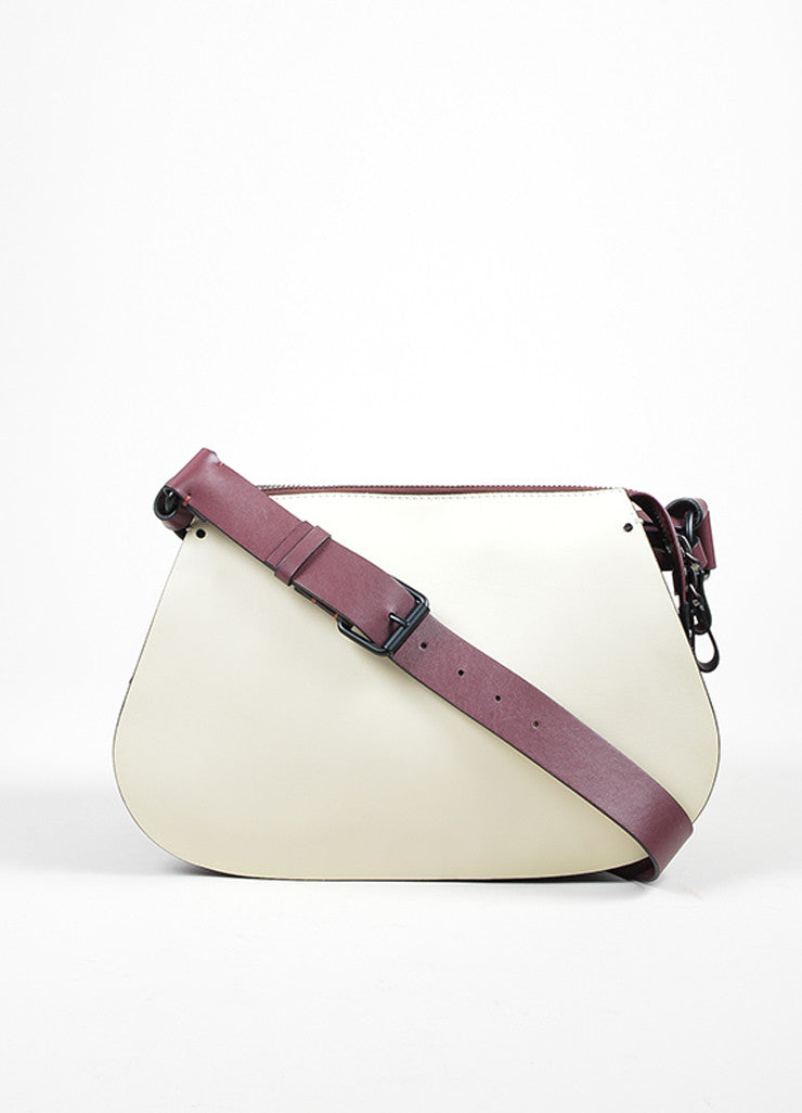 Burgundy, Blue, and Cream Valentino Leather Saddle Shoulder Bag Frontview