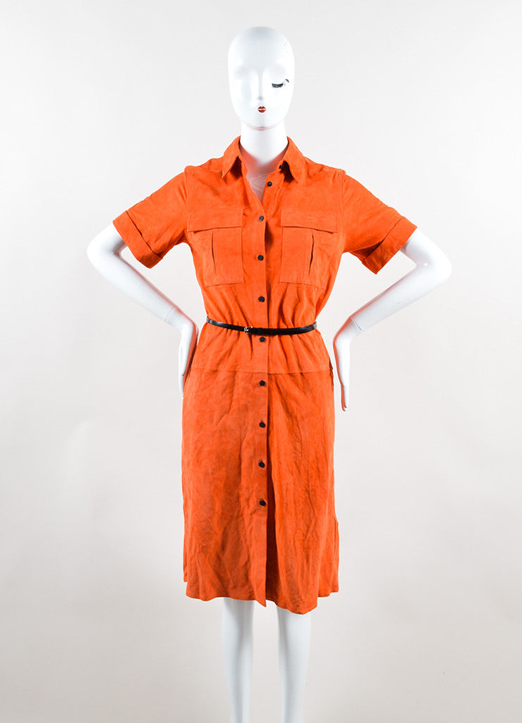 Victoria Beckham Orange Suede Short Sleeve Belted Shirt Dress Frontview