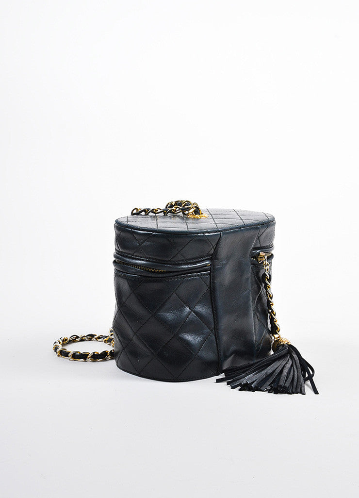 "Chanel Black Quilted Lambskin 'CC"" Tassel Cylinder Shoulder Bag Sideview"