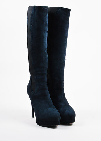 "Yves Saint Laurent Navy Blue Suede Platform ""Gaby 90"" Knee Boots Frontview"