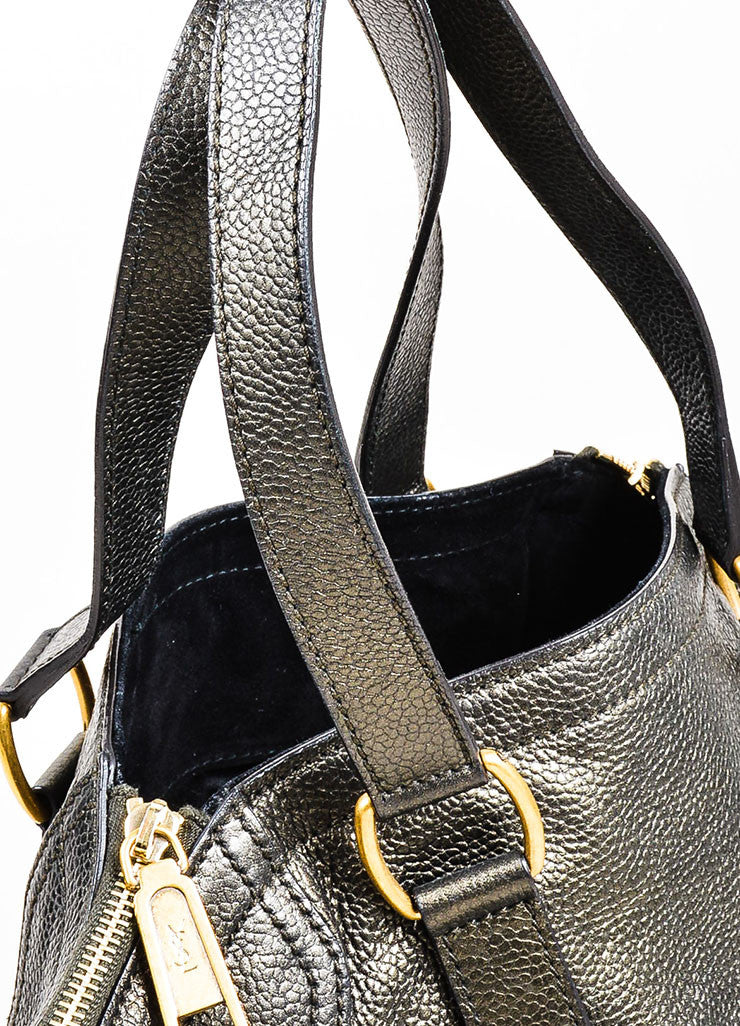 "Brown Metallic Leather Yves Saint Laurent ""Small Downtown"" Carryall Tote Handbag Detail 2"