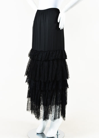 Lanvin Black Lace Tiered Maxi Skirt Side