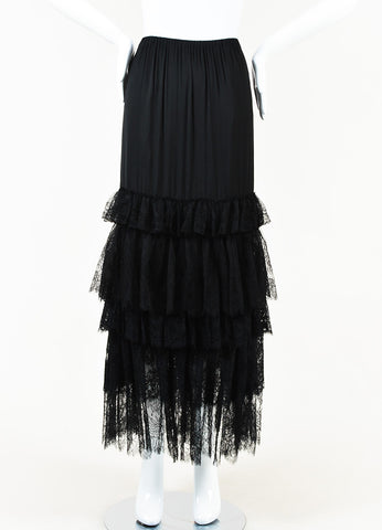 Lanvin Black Lace Tiered Maxi Skirt Front