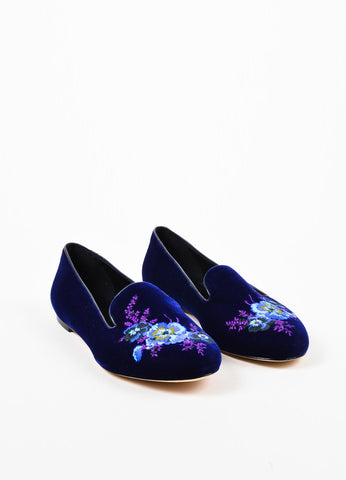 Christopher Kane Purple Velvet Floral Embroidered Smoking Flats Front