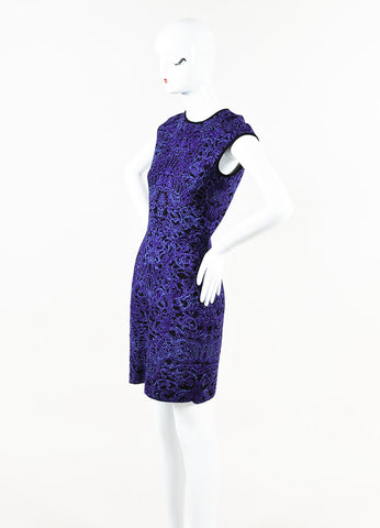 Alexander McQueen Purple Black Stretch Knit Printed Sleeveless Dress Front