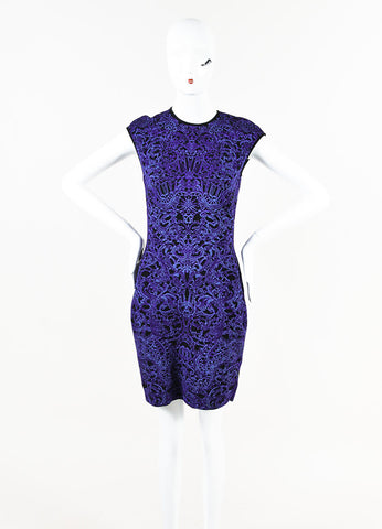 Alexander McQueen Purple Black Stretch Knit Printed Sleeveless Dress Front 2