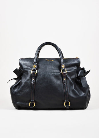 "Miu Miu Black Grained Leather Bow Detail GHW ""Vitello"" Satchel Bag Frontview"