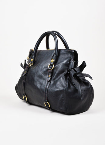 "Miu Miu Black Grained Leather Bow Detail GHW ""Vitello"" Satchel Bag Sideview"