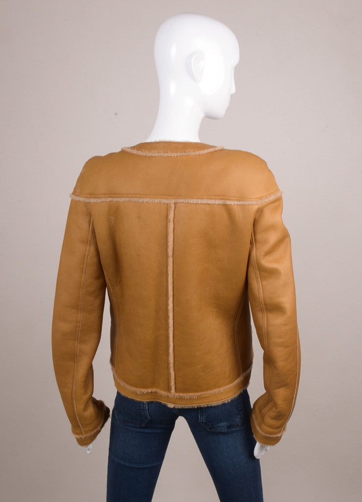 Tan Brown Shearling Lined Collarless Front Zipper Leather Jacket