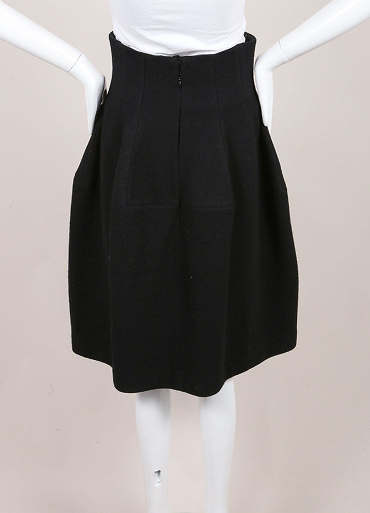 Alaia Black Wool and Cashmere High Waisted Structural Skirt Backview