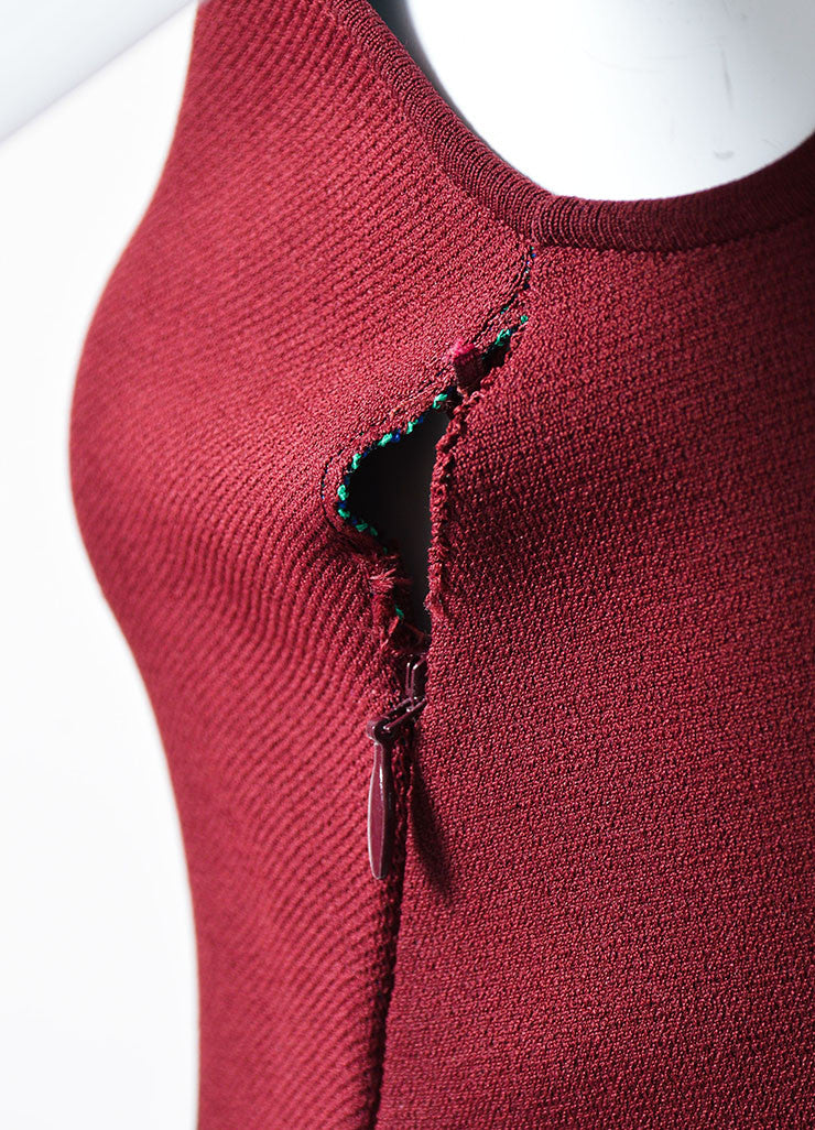 Maroon and Multicolor Alexander McQueen Stretch Knit Bodycon Dress Detail 2