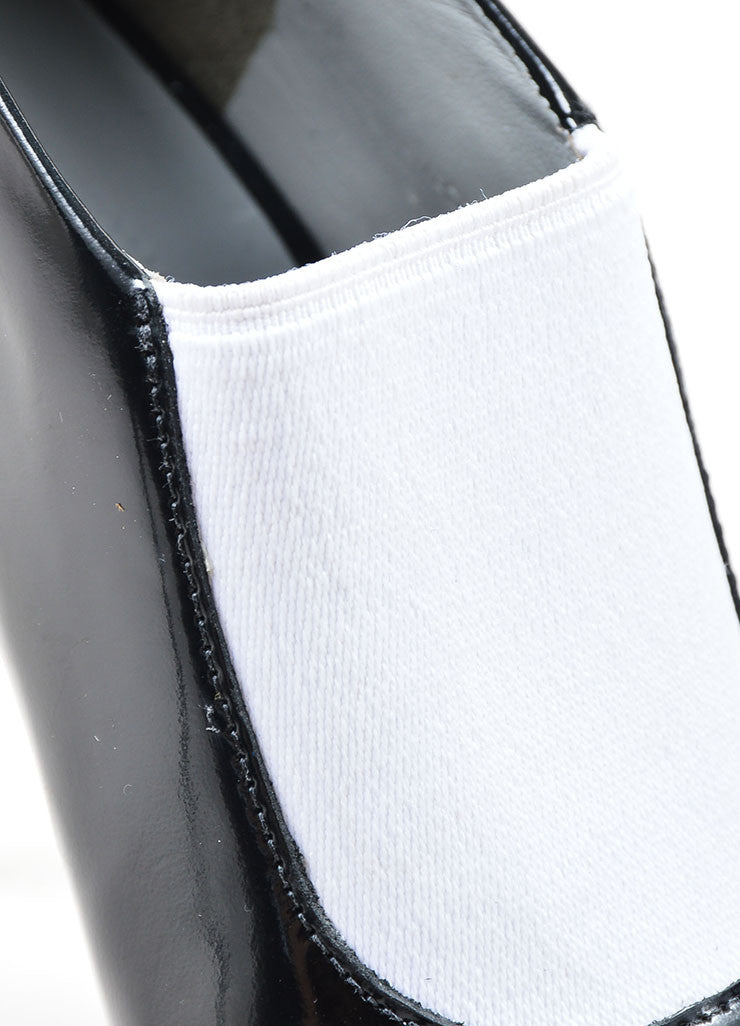 Black and White Alexander Wang Leather Glossy Pointed Toe Booties Detail