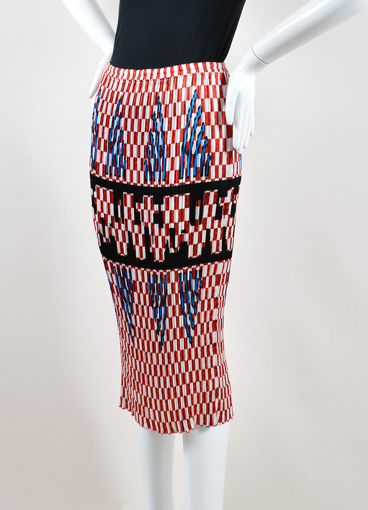 Alexander Wang Red and White Smocked Pleated Checkered Midi Skirt Sideview