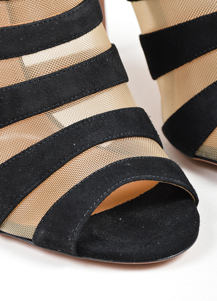 "Black and Nude Aquazzura Suede Mesh Caged ""Wild Side"" Booties Detail"