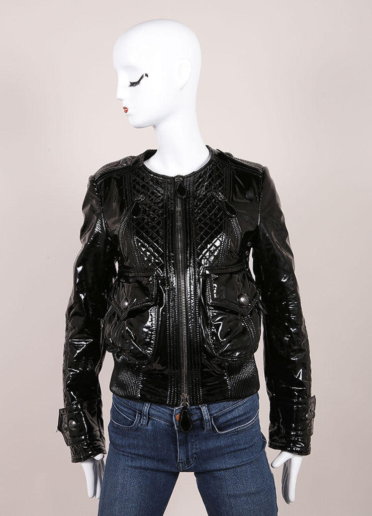 Burberry Black Patent Leather Quilted Details Moto Jacket Frontview