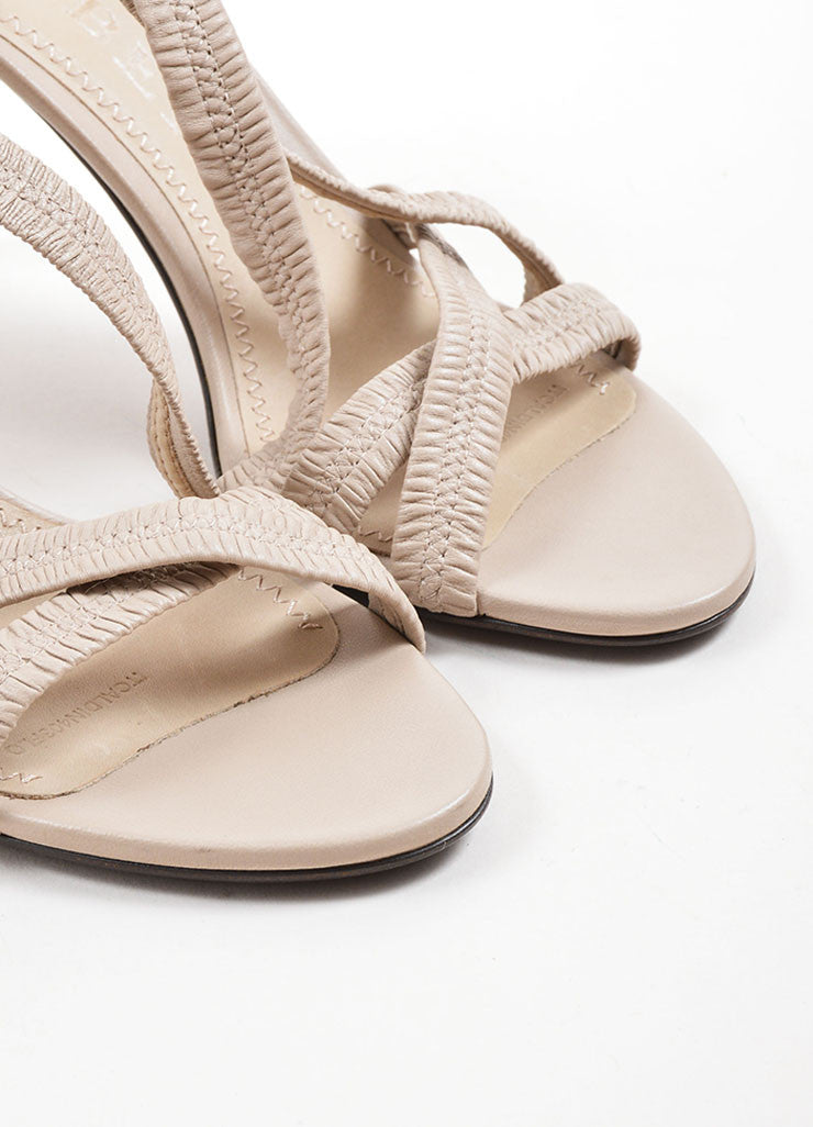 Burberry Beige Leather Plisse Strappy Heeled Sandals Detail