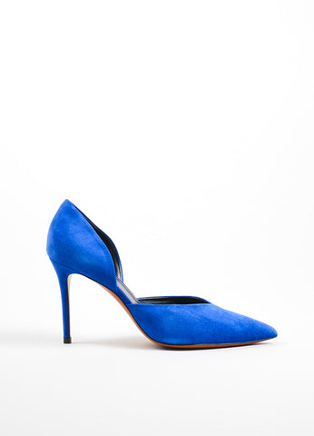 Blue Celine Suede D'Orsay Pointed Toe Pumps Sideview