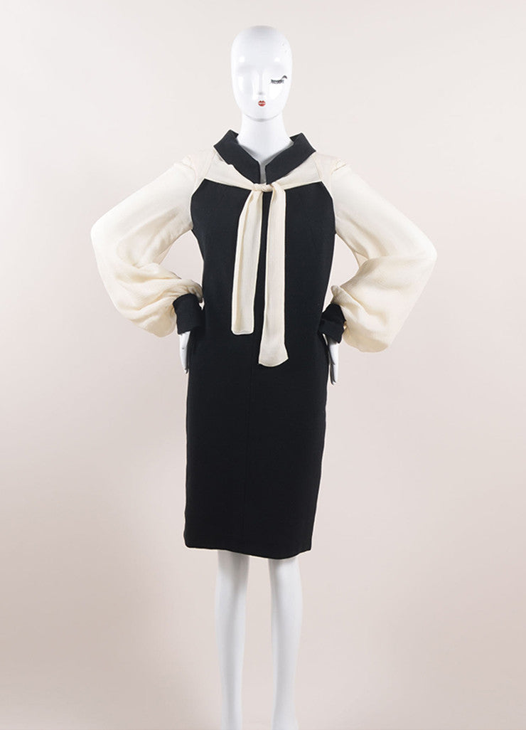 Chanel Black and Cream Cotton and Silk Tie Front Shift Dress Frontview
