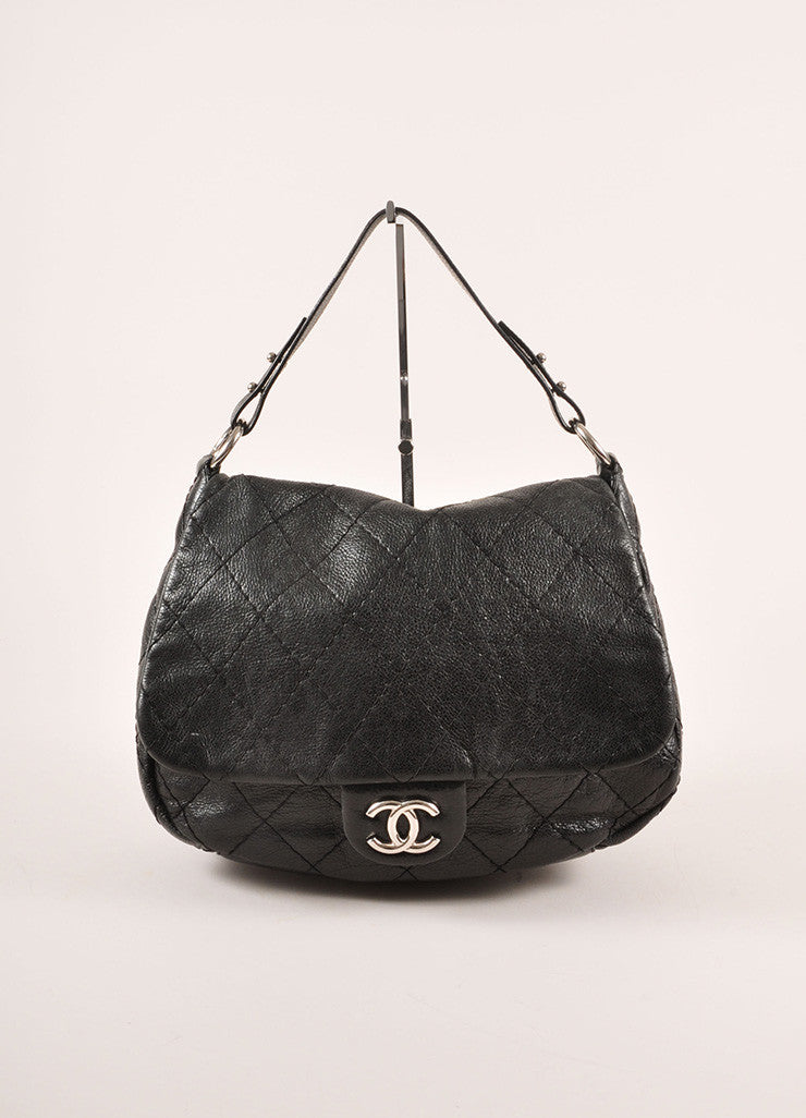 "Chanel Black and Silver Toned Glazed Caviar Leather ""CC"" Logo Flap Shoulder Bag Frontview"