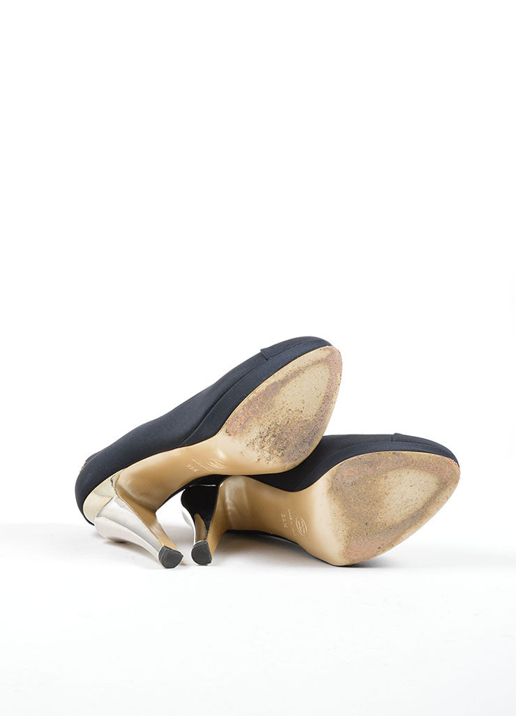 "Chanel Black and Gold Satin ""CC"" Mirrored Platform Pumps Outsoles"
