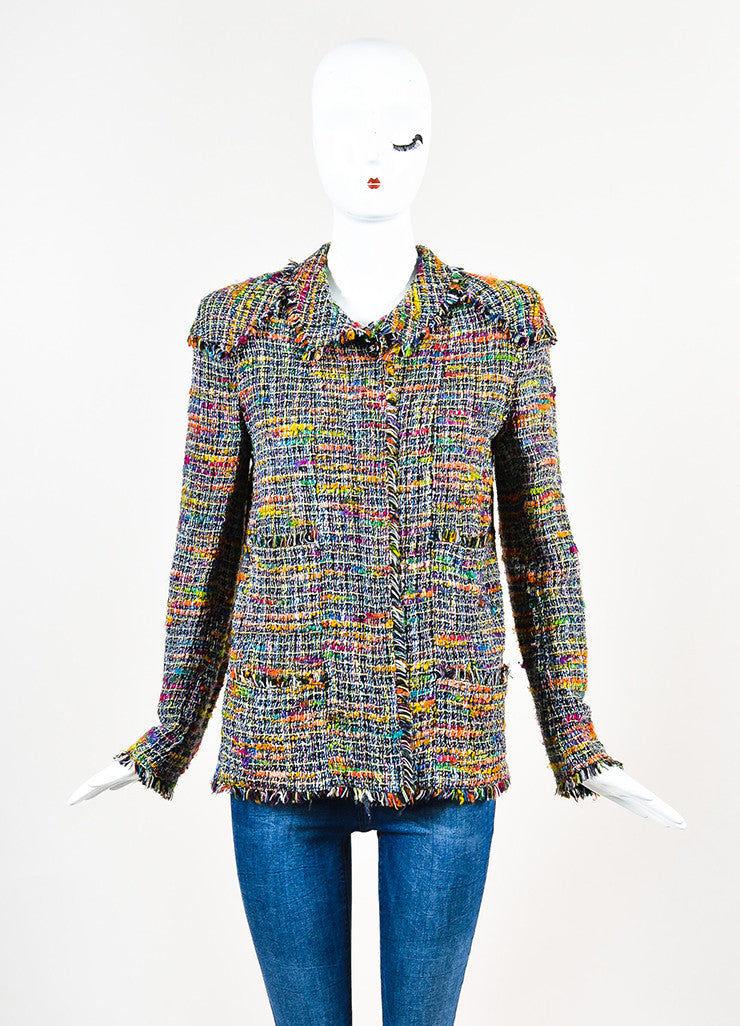 Chanel Black and Multicolor Tweed Single Button Jacket Frontview 2