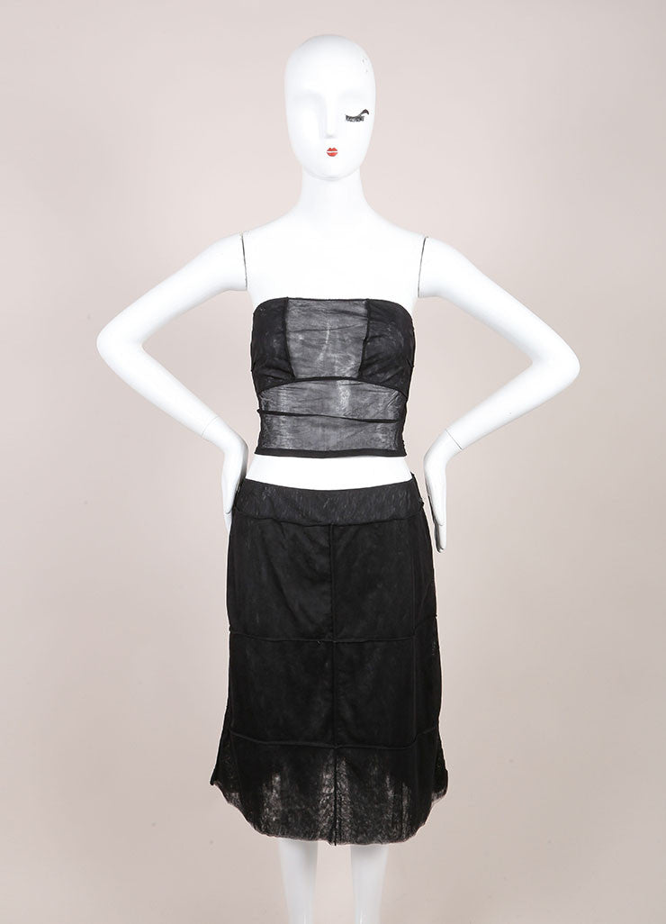 Chanel Black Sheer Mesh Paneled Strapless Crop Top A-Line Skirt Set Frontview