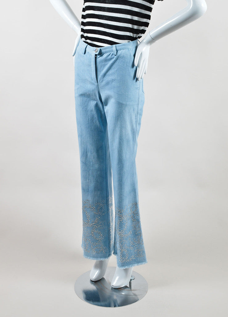 "Chanel Blue Cotton Wide Leg ""CC"" Rhinestone Embellished Frayed Hem Jeans Sideview"