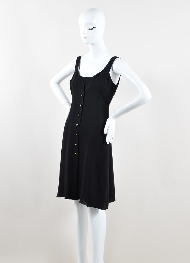 Chanel Black Silk Georgette Sleeveless Button Up Slip Dress Sideview