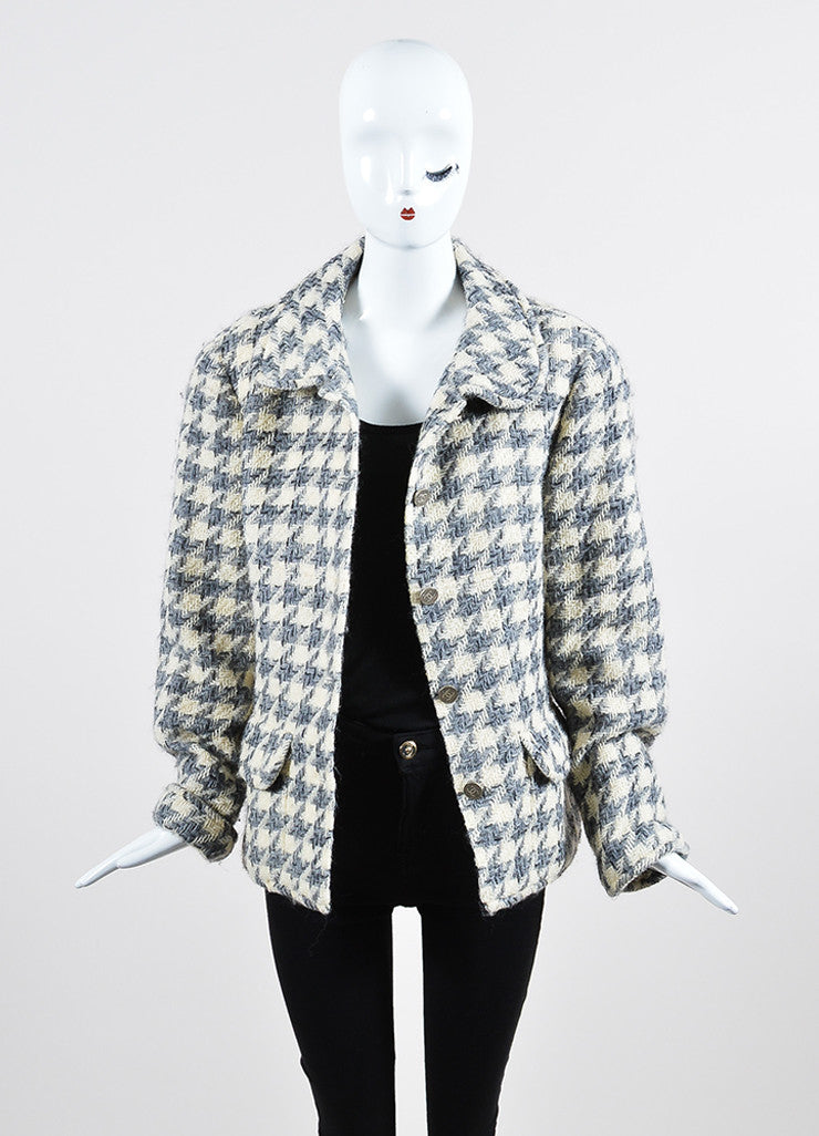 Cream, Grey, and Black Chanel Wool Woven Knit Herringbone Jacket Frontview