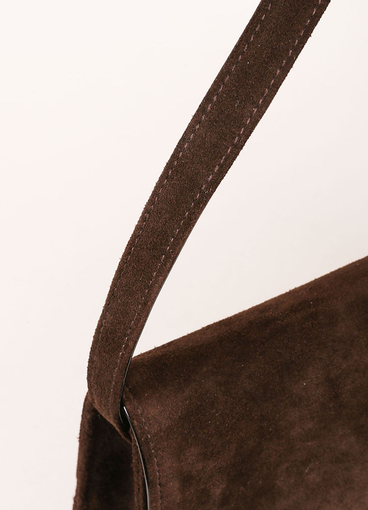Chanel Brown and Black Suede Leather Patent Trim Shoulder Handbag Detail 2