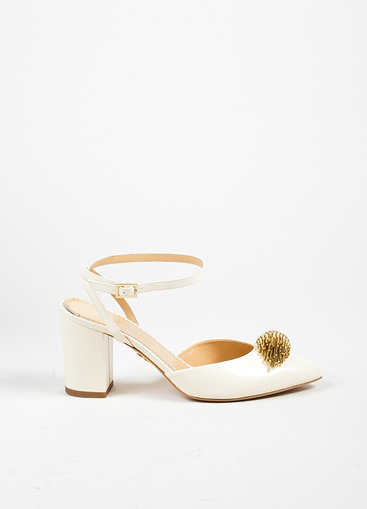 "Off White Leather Charlotte Olympia ""Eileen"" Ankle Wrap Pumps Sideview"