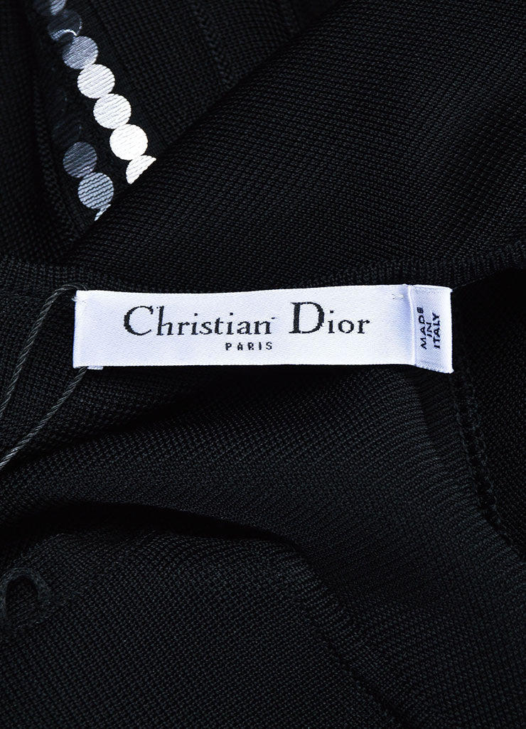 Black Christian Dior Sequin Detail Pleated Short Sleeve Dress Brand
