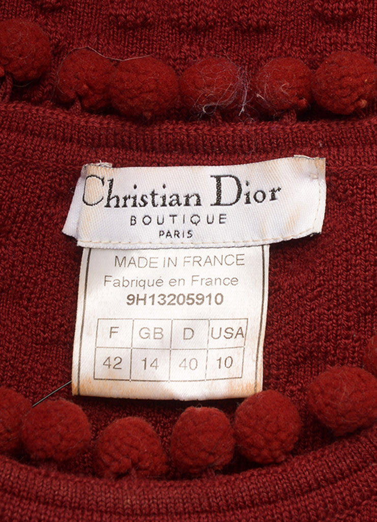 Christian Dior Red Wool Embossed Pom Pom Sleeveless Knit Top Brand