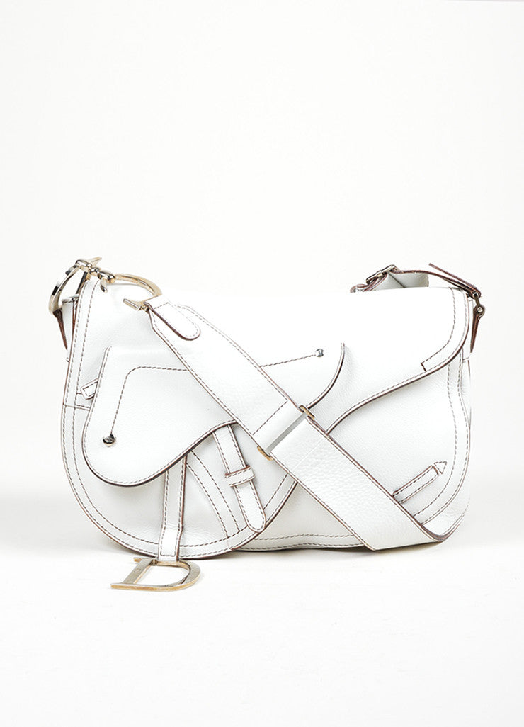 "White Christian Dior Leather Stitched ""Medium Saddle"" Shoulder Bag Frontview"