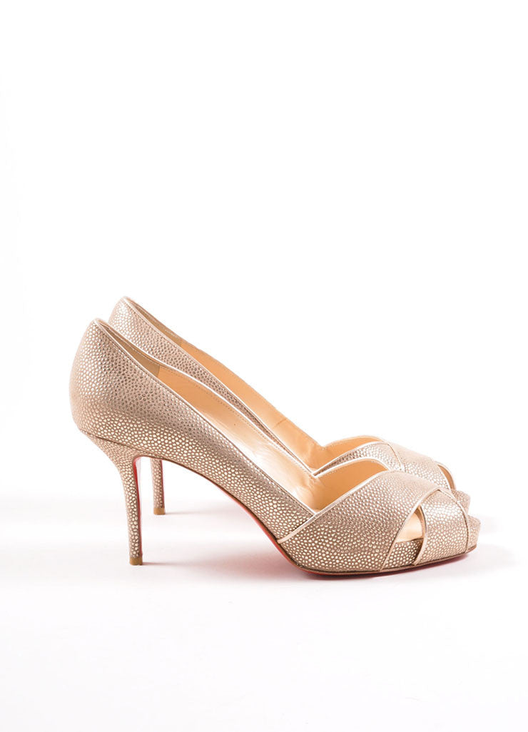 "Christian Louboutin Gold Metallic Pebbled Leather Peep Toe ""Shelley"" Pumps Sideview"