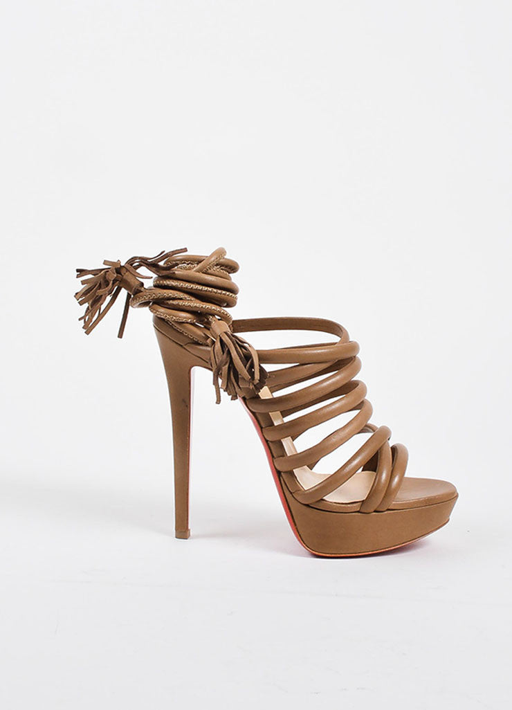 "Christian Louboutin Beige Leather Tube Wrap ""Tina 140"" Sandals Sideview"
