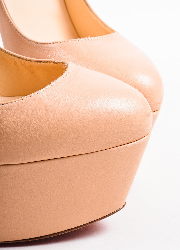 "Christian Louboutin Nude Beige Leather ""Electropump 160"" Spiked Heels Detail"