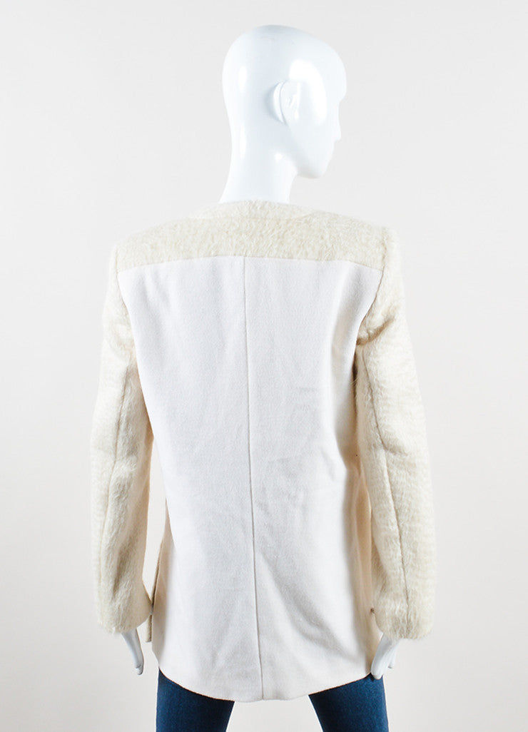 "Edun Cream Soft Alpaca Knit ""Baby Suri"" Side Slit Blazer Backview"