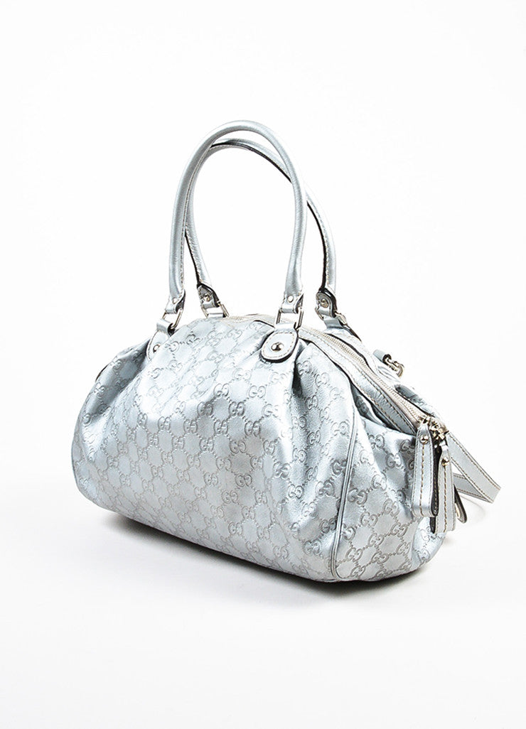 "Gucci Metallic Silver Guccissima Leather Crossbody ""Sukey Boston"" Bag Sideview"