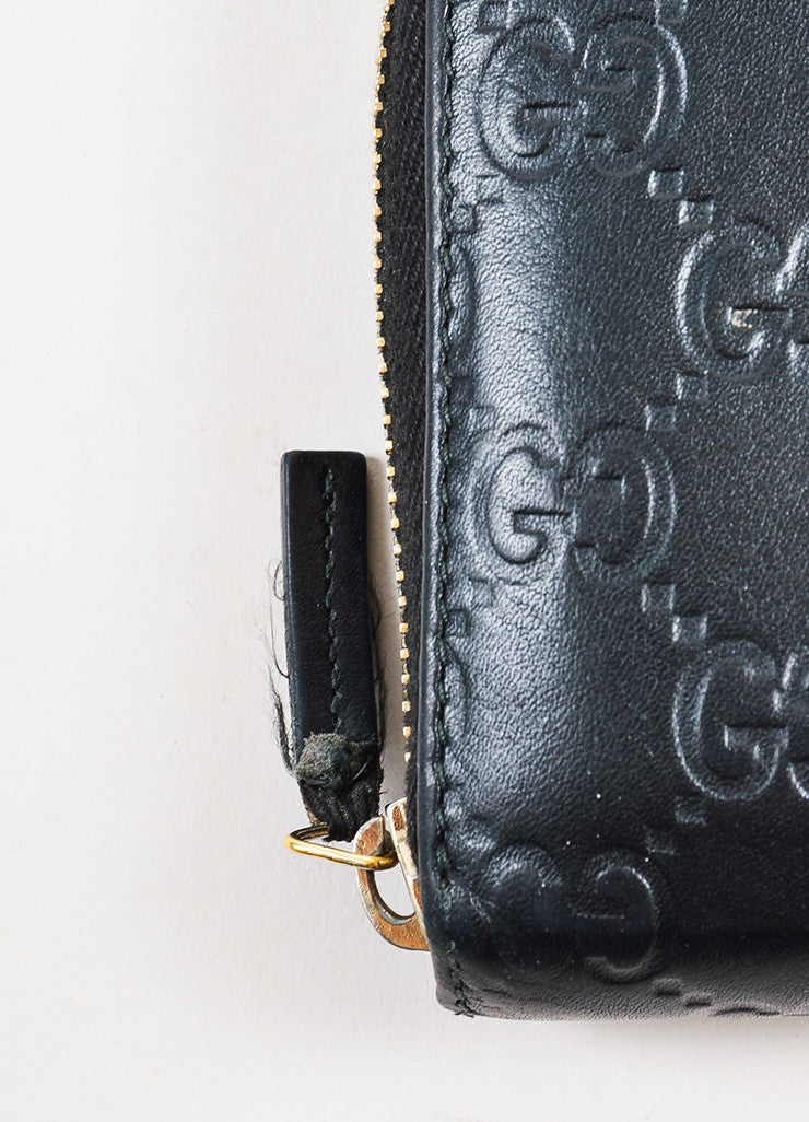 "Gucci Black Leather ""Guccissima"" Monogram ""GG"" Long Zip Wallet Detail 2"